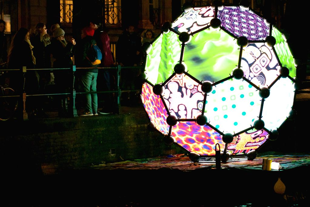 """The light artworks named """"Buckyball"""" is seen in Amsterdam, the Netherlands, Nov. 27, 2015. The fourth edition of Amsterdam Light Festival, to be held ..."""