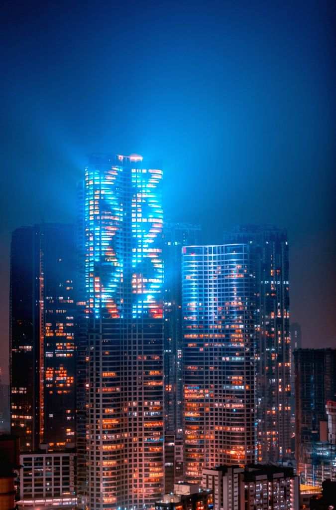 The Lodha Group's iconic building in south Mumbai lit up for Diwali-2020.