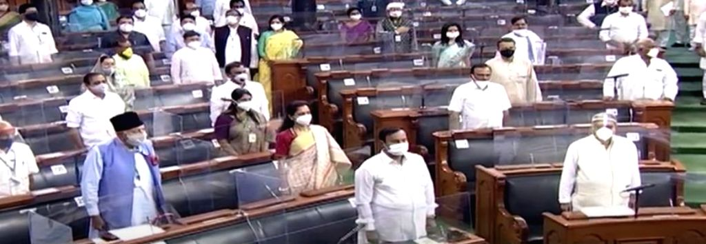 The Lok Sabha observes a 2-minute silence to honour the 15 parliamentarians who passed away this year, on the first day of the Monsoon Session of Parliament in New Delhi on Sep 14, 2020.