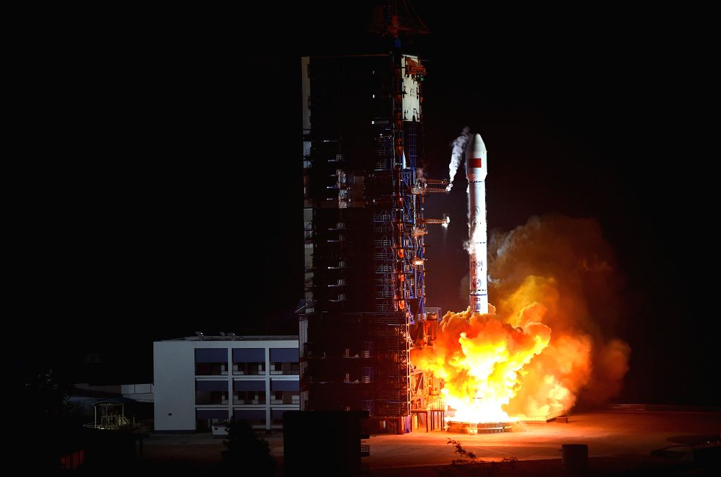 "The Long March-3B carrier rocket carries communication satellite ""China 1C"" into the sky at Xichang Satellite Launch Center in Xichang, southwest China's ..."