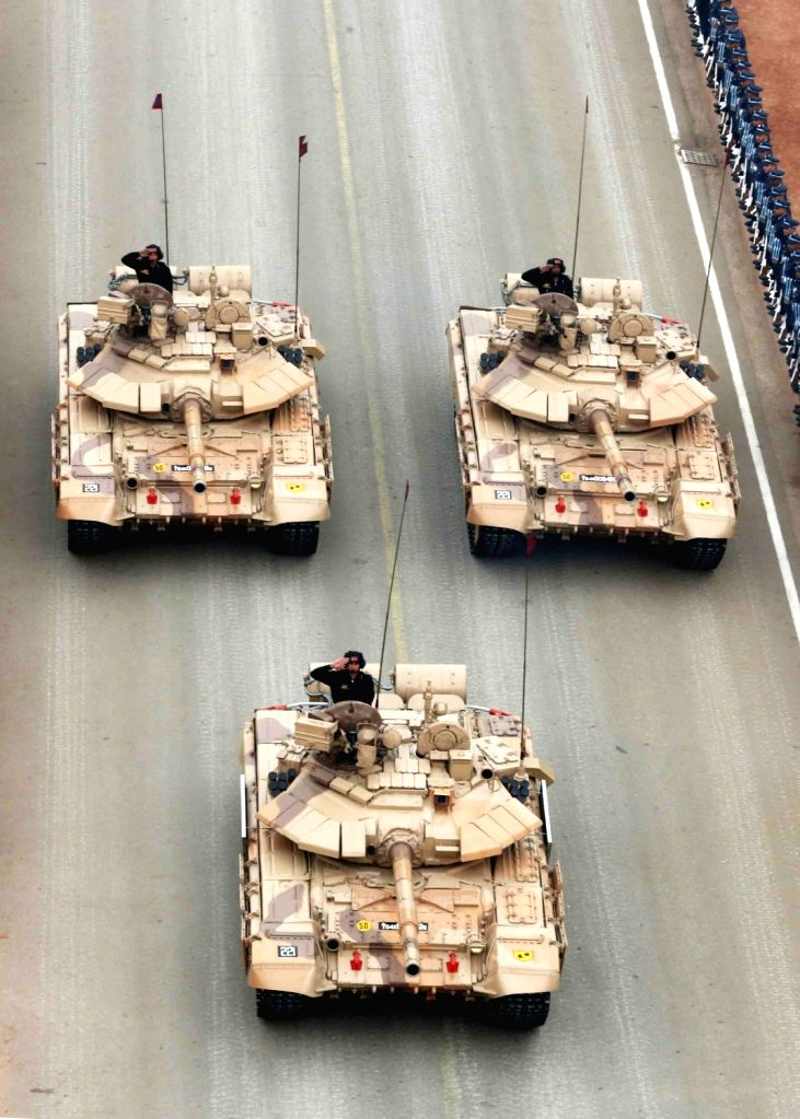 The Main Battle Tank of Indian Army T-90 (Bhishma), rolling down the historic Rajpath during the full dress rehearsal for the Republic Day Parade 2018, in New Delhi Jan 23, 2018.
