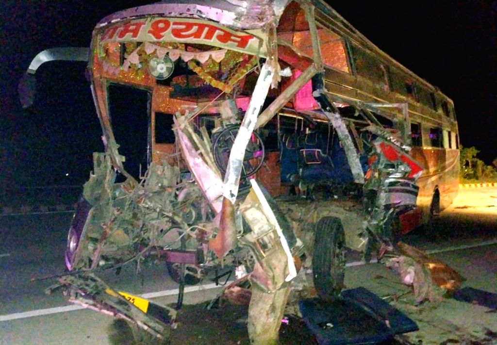 The mangled remains of a bus after it collided with a truck on Yamuna Expressway, near milestone 118 of Mahavan police jurisdiction of Mathura on July 28, 2019. Reportedly two persons were ...