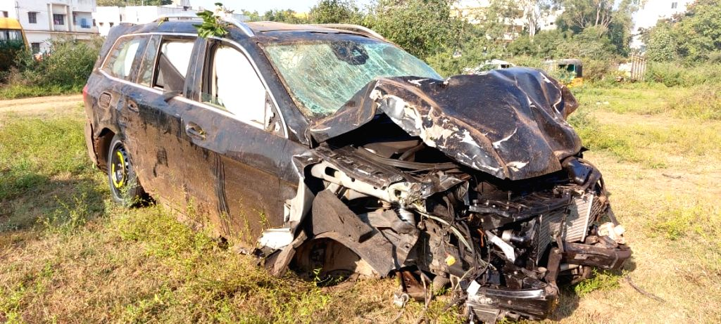 The mangled remains of Telugu actor Rajasekhar's car that met with an accident at Hyderabad???s Outer Ring Road (ORR) near Pedda Golconda on Nov 13, 2019. The actor escaped with minor ... - Rajasekha