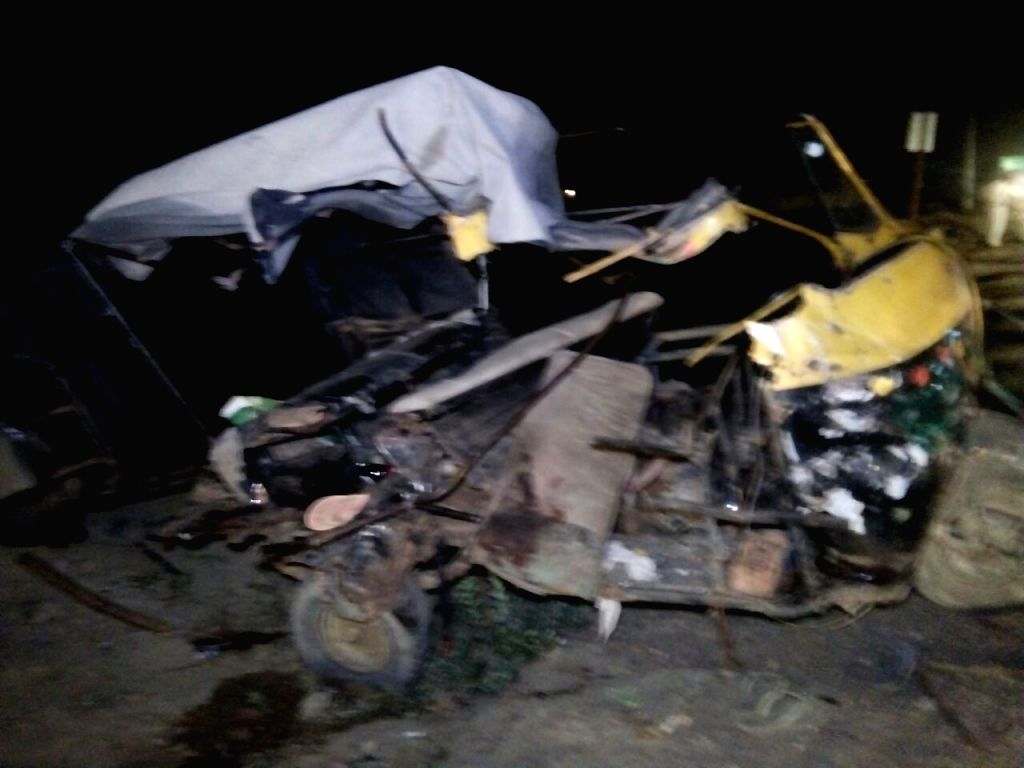 The mangled remains of the auto-rickshaw that was involved in a head-on collision with a minibus in  Hafizpur area near Hapur of Uttar Pradesh on June 24, 2016. Atleast three people were ...