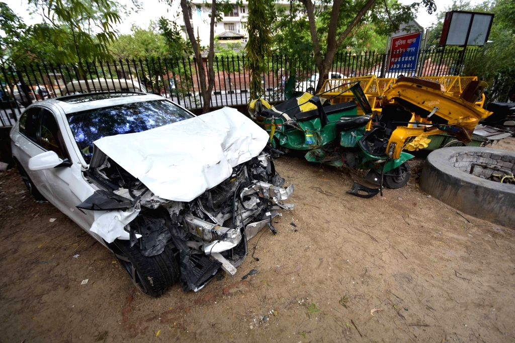 The mangled remains of the BMW car, that was being driven by the son of a Rajasthan legislator and hit an auto rickshaw and a PCR van, killing three persons and injuring five others in ...