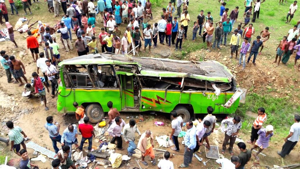 The mangled remains of the bus that met with an accident in Angul district of Odisha on Sept 9, 2016. Reportedly 16 people were killed in theaccident.