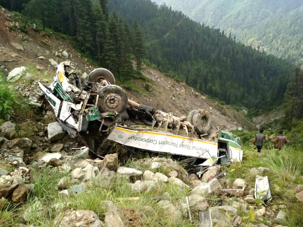 The mangled remains of the bus that slipped down a slope and fell into a gorge in Himachal Pradesh's Kullu district killing three persons and injuring 10 others on Aug 15, 2017.
