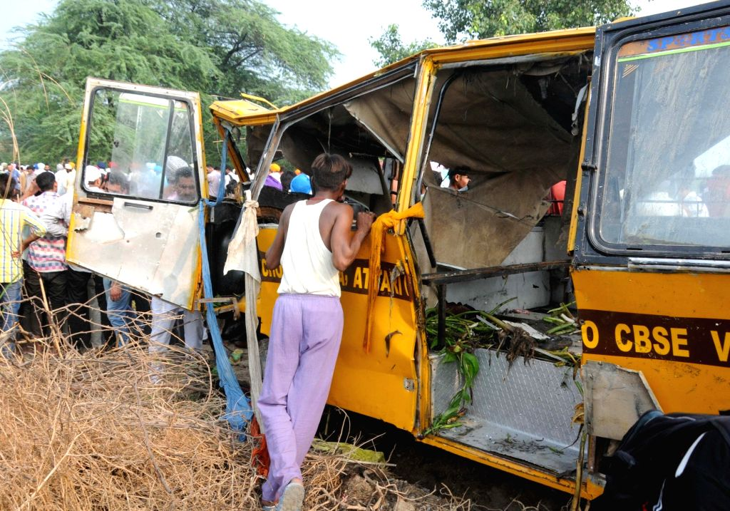 The mangled remains of the school bus that fell into a large drain in Muhawa village, 40 km away from Amritsar on Sept 20, 2016.