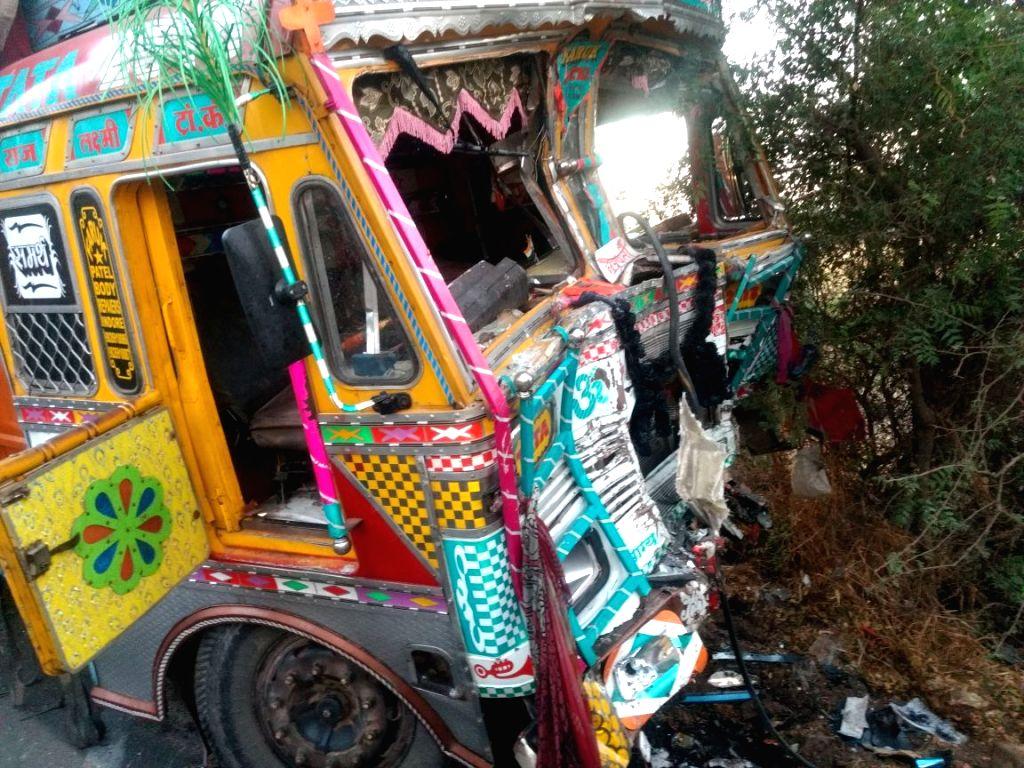 The mangled remains of the truck that rammed into a minibus on the Pune-Solapur road on March 11, 2017. At least 11 persons, including four couples and a child, were killed.