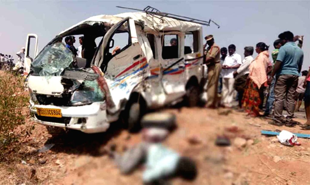 The mangled remains of the van that collided with a bus killing eight people near Devatupalli village in Telangana's Nalgonda district on March 6, 2019. The van driver lost control of the ...