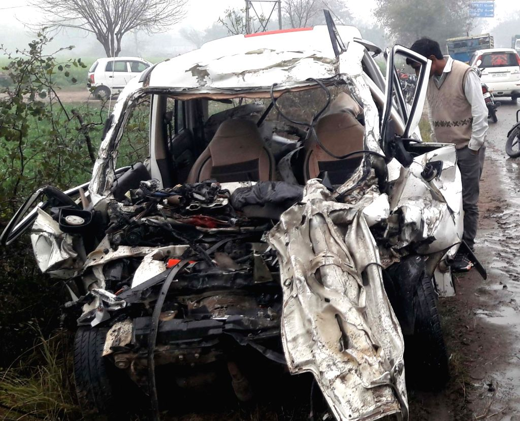 The mangled remains of the vehicle that collided with a speeding truck killing at least five people, including a woman and two children in Haryana's Jhajjar district on Feb 20, 2019.