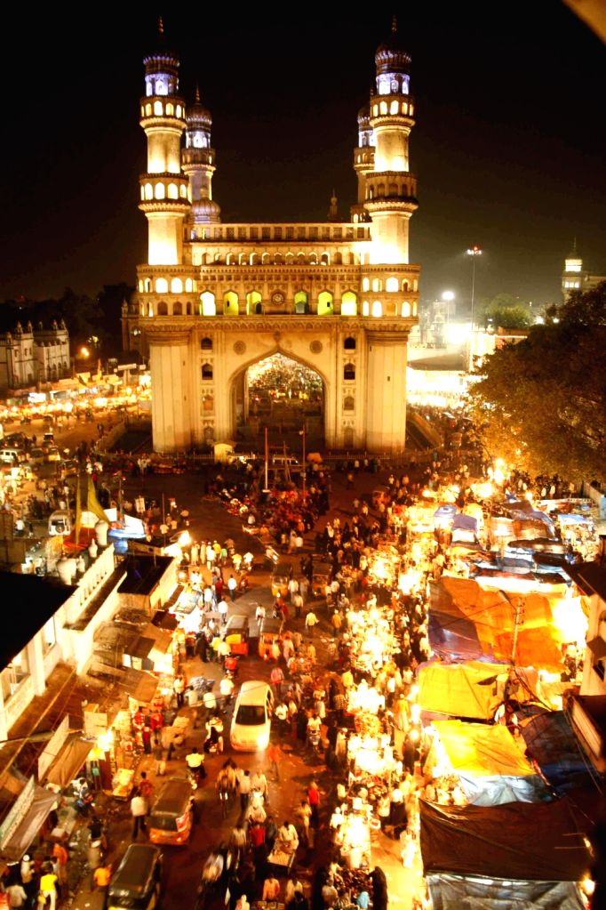 The market around Charminar in Hyderabad buzzing with activities during the night on the occasion of Ramadan.