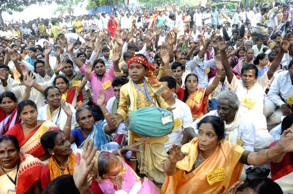The members of All India Kirtan and Devotional Singer Association stage a demonstration against West Bengal Government in Kolkata, on Nov 16, 2015.