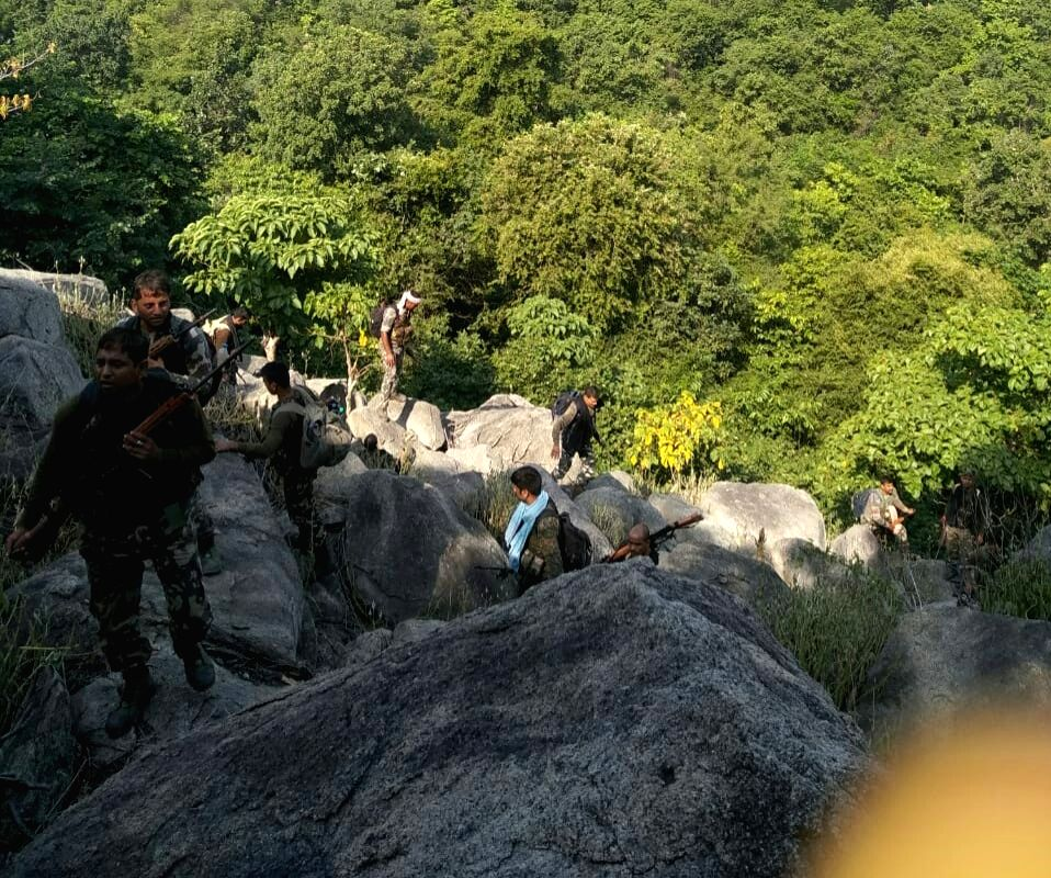 The members of combined team of Central Reserve Police Force's (CRPF) CoBRA battalion and Special Task Force (STF) who killed three Maoists in an encounter in Bihar's Satnadia forest area ...