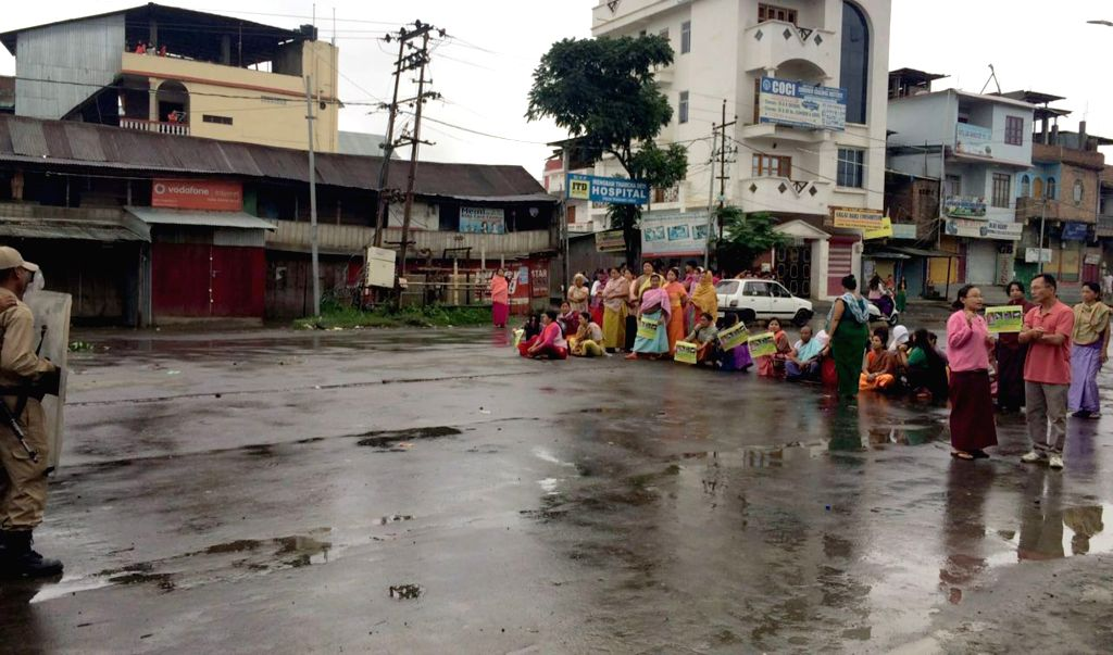 The members of Joint Committee On Inner Line Permit System (JCILPS) stage a blockade in Imphal during a 38 hour strike called by them to press for implementation of Inner Line Permit in ...