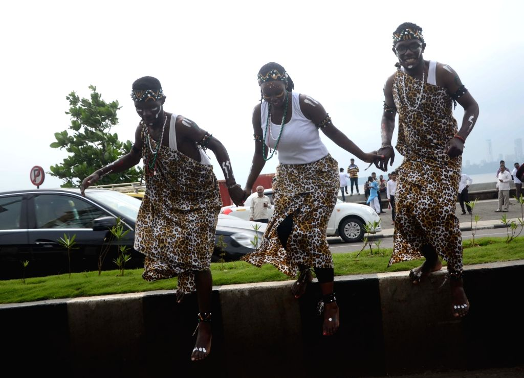 The members of Kenyan dancers promote Kenya Tourism on the streets on Mumbai on Sept 16, 2016.