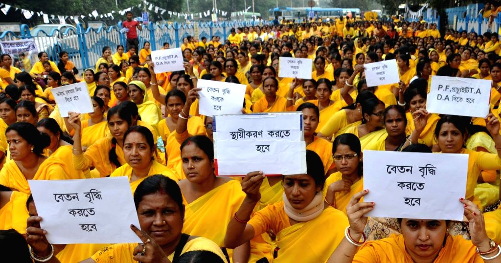 The members of United Auxuliary Nurses (2nd) Employees Association demonstrate against the West Bengal Government in Kolkata on Nov 30, 2015.