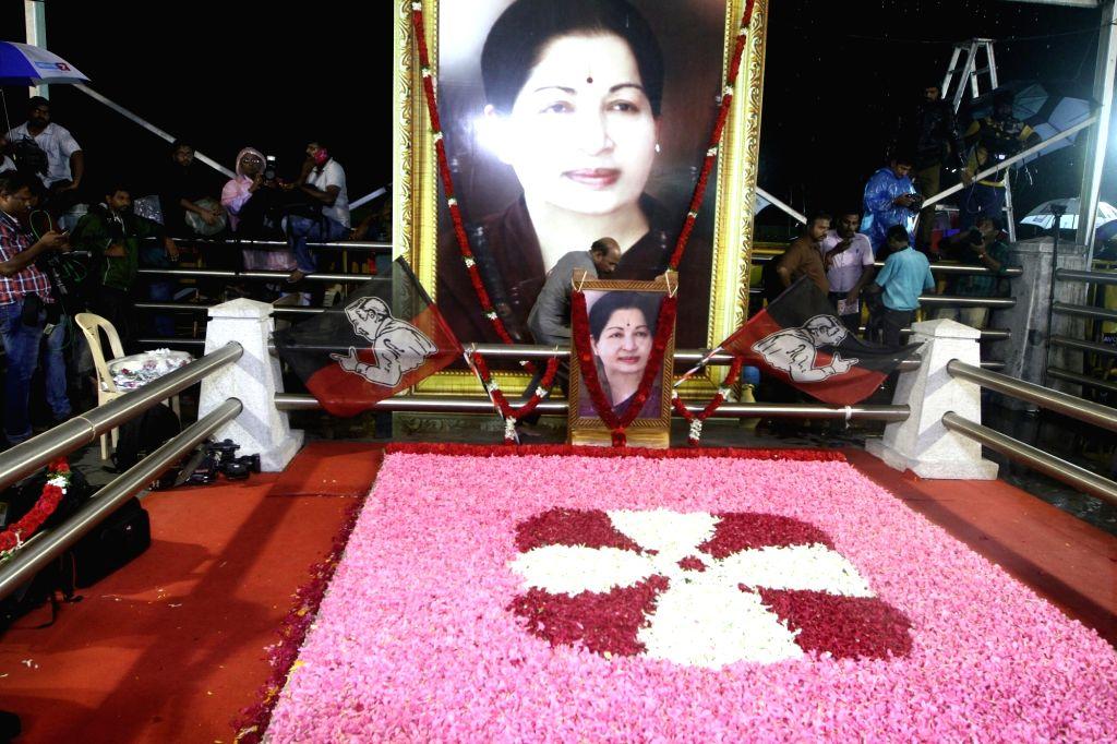 The memorial of former Chief MIinister J Jayalalitha at Marina Beach in Chennai on Aug. 18, 2017.