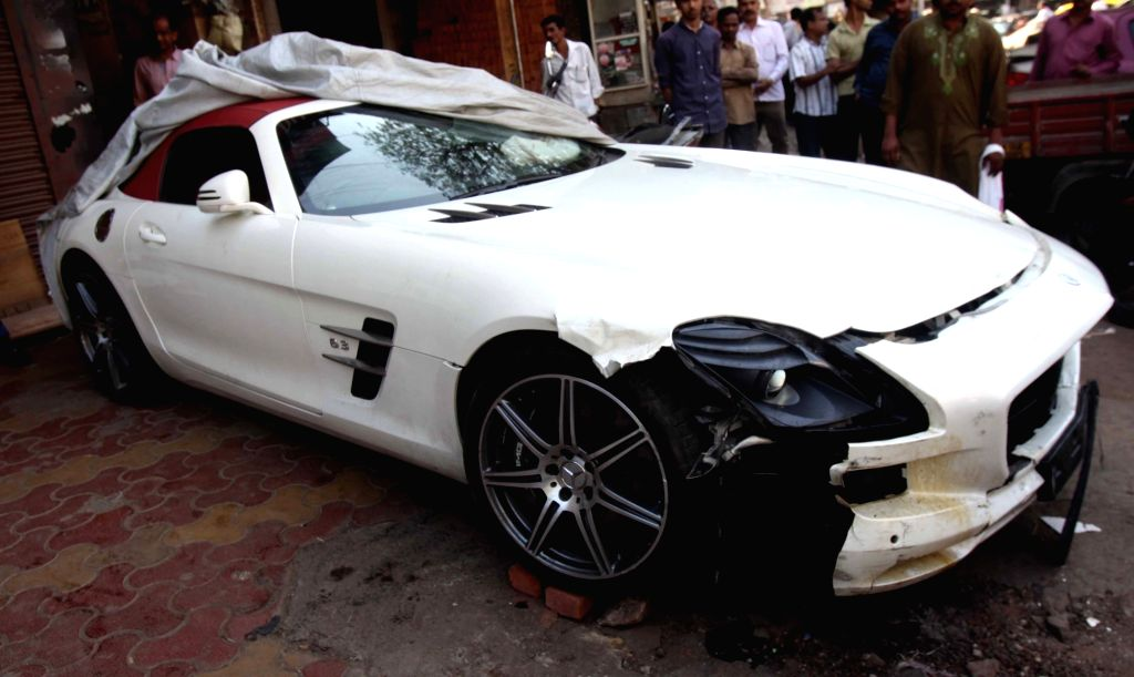 The Mercedes car which veered out of control and ran over a pavement injuring five people who were sleeping there, after midnight on 21st January; in Mumbai on Jan 22, 2016.