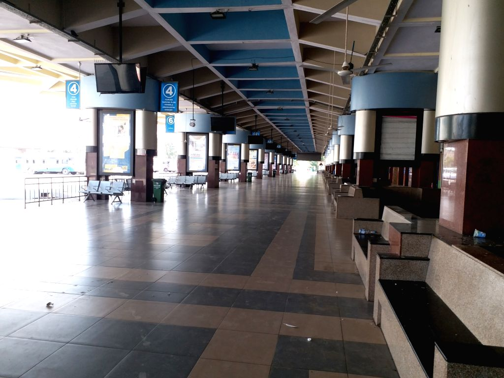 The MG bus station bears a deserted look during 'Janata Curfew' in Hyderabad on March 22, 2020.