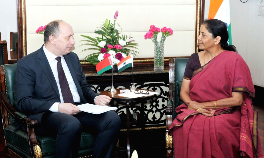 The Minister of Industry, Belarus, Mr. Vitaly Vovk meets the Minister of State for Commerce & Industry (Independent Charge) Nirmala Sitharaman, in New Delhi, on July 4, 2017.