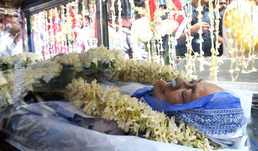 The mortal remains of Matua matriarch Binapani Devi, popular as 'Boroma', who passed away following multi-organ failure at the state-run SSKM Hospital, in Kolkata, on March 6, 2019.