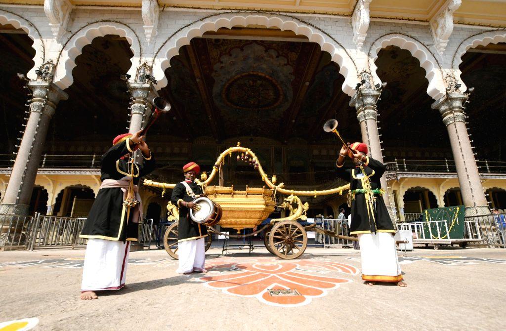 The Nadaswara artistes perform during Vijayadashami celebrations at Mysuru Palace on Oct 26, 2020.