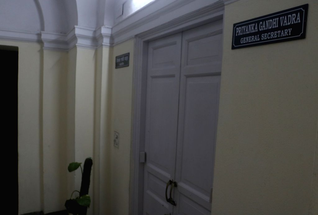 The nameplate of Priyanka Gandhi Vadra seen outside a room allotted to her at the Congress headquarters, next to the office of her brother and party chief Rahul Gandhi, in New Delhi, on ... - Priyanka Gandhi Vadra and Rahul Gandhi