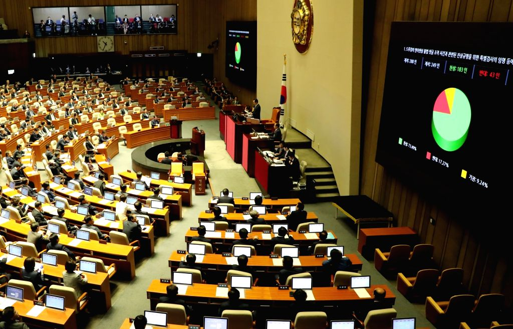 The National Assembly passes a bill on May 21, 2018, for an independent counsel probe on suspicions of online opinion manipulation by a power blogger at a plenary session in Seoul. The counsel ...