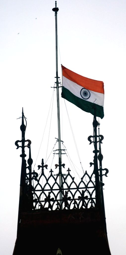 The national flag flies at half-mast at the Calcutta High Court during a seven-day state mourning in the memory of former President Pranab Mukherjee who passed away on Monday evening at ... - Pranab Mukherjee