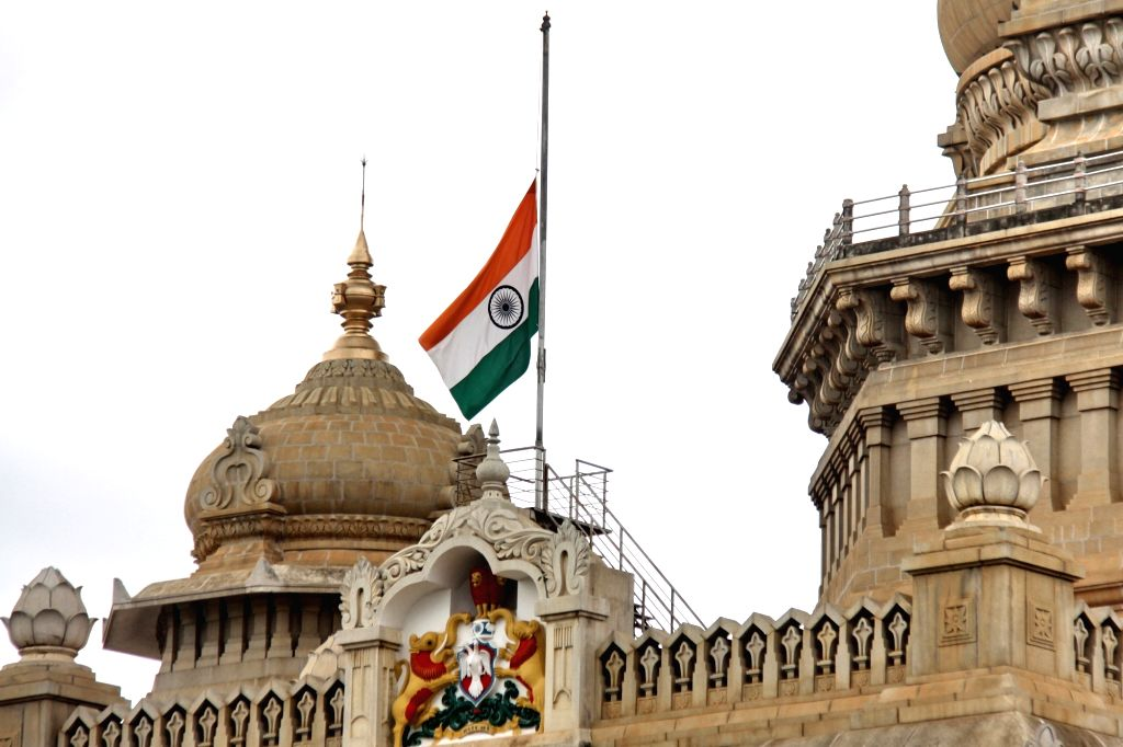 The national flag flies at half-mast at Vidhana Soudha during a seven-day state mourning in the memory of former President Pranab Mukherjee who passed away on Monday evening at Army's ... - Pranab Mukherjee