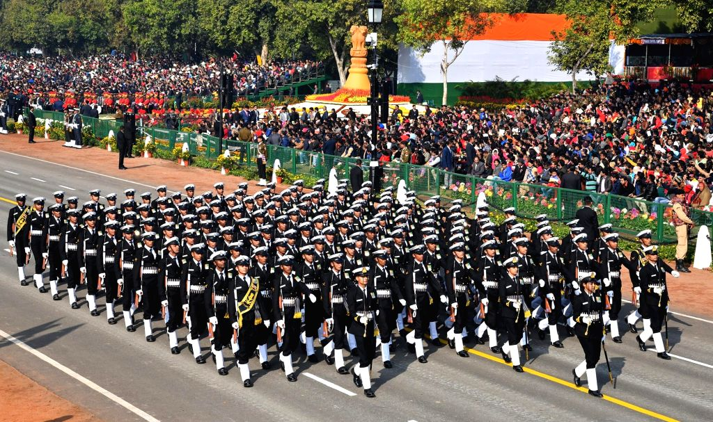 The Naval contingent marches on Rajpath during 2019 Republic Day Parade in New Delhi, on Jan 26, 2019.