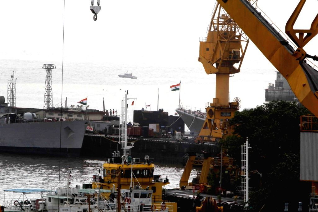 The naval dockyard were explosion occurred in INS Sindhurakshak Submarine in Mumbai on August 14, 2013. (Photo::: Sandeep Mahankal/IANS)