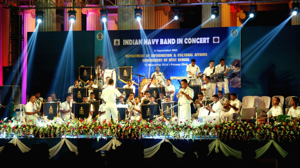 The Navy band performs during a concert at Prinsep Ghat in Kolkata, on Nov 12, 2014.