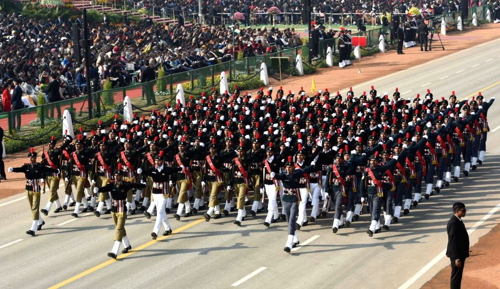 The NCC Boys Marching Contingent passes through the Rajpath during the 71st Republic Day parade in New Delhi on Jan 26, 2020.