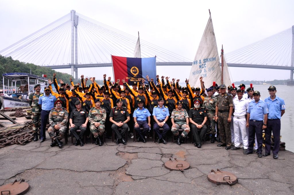 The NCC Sailing Expedition team with NCC officials after reaching Man- of-War Jetty in Kolkata on June 16, 2017.