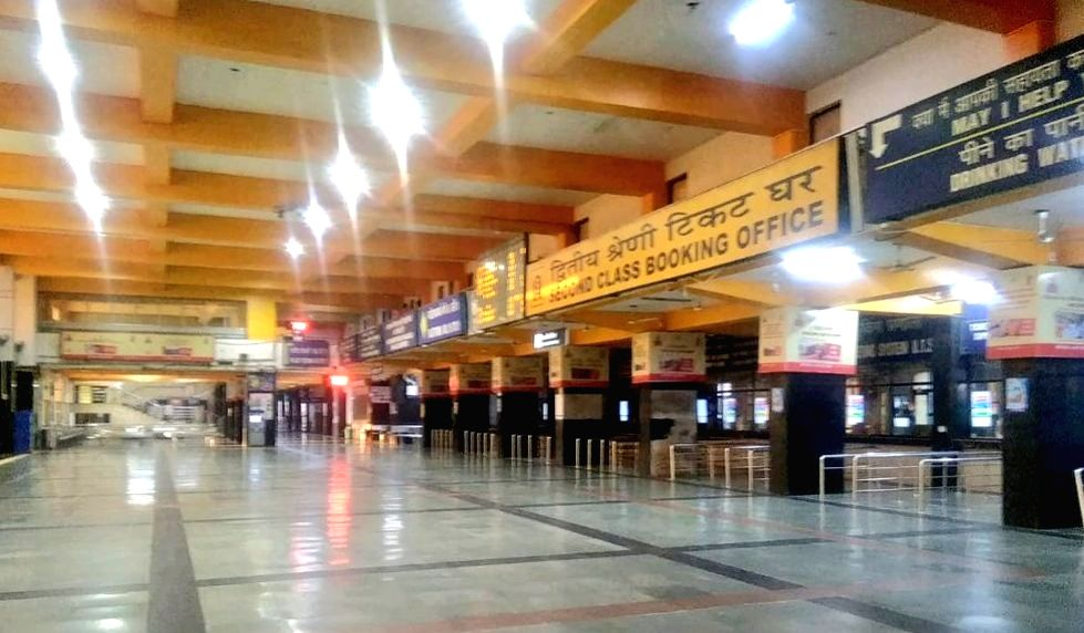 The new Delhi Railway Station bears a deserted look during the nationwide 'Janata Curfew' imposed in the wake of increasing cases of COVID-19 amid coronavirus pandemic, on March 22, 2020.