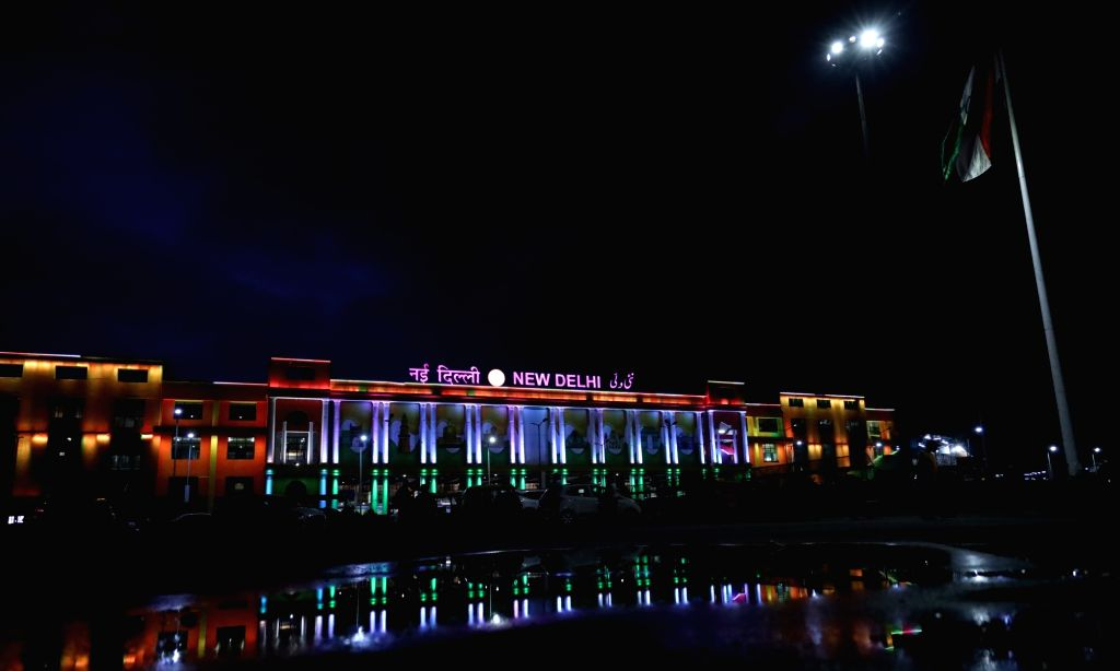 The New Delhi Railway Station illuminated in tricolor on the eve of the 74th Independence Day in New Delhi on Aug 14, 2020.