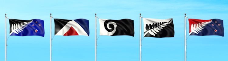 The new national flag designs of New Zealand. Three flags feature silver ferns, one has the 'koru' (spiral shape based on the shape of a new unfurling silver fern) and the fifth - a ...
