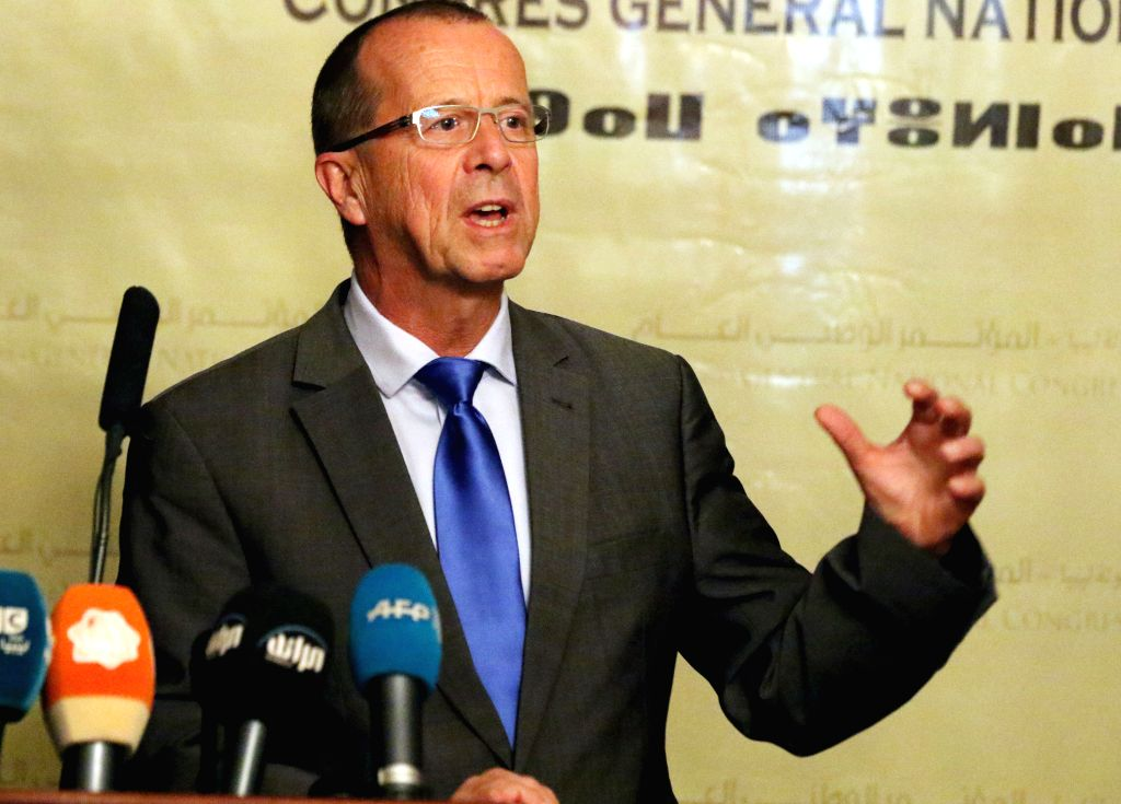 The newly-appointed UN envoy to Libya Martin Kobler addresses a press conference in Tripoli, Libya, on Nov. 22, 2015.The newly appointed UN Special Envoy to Libya ...