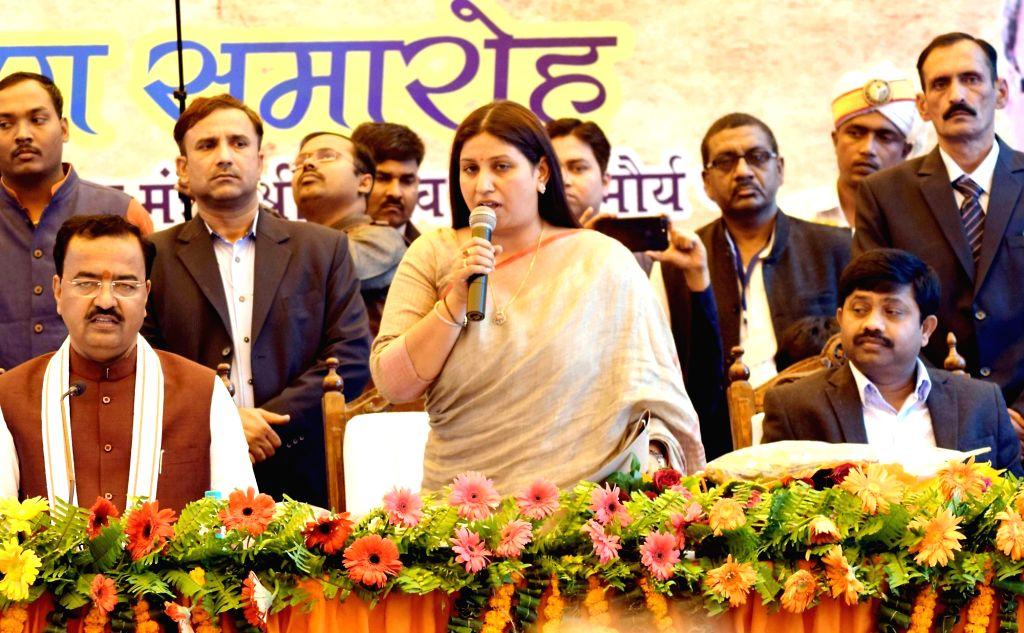 The newly elected Allahabad mayor Abhilasha Gupta Nandi addresses during her swearing-in ceremony in Allahabad on Dec 12, 2017. - Abhilasha Gupta Nandi