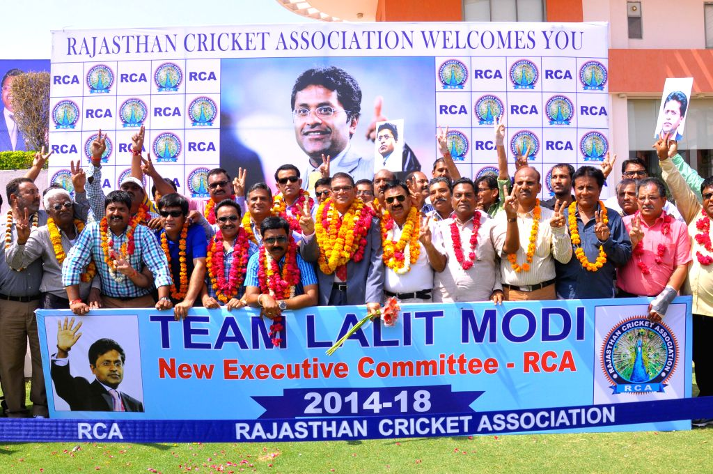 The newly elected members of Rajasthan Cricket Association (RCA) celebrate their victory after the results were declared in Jaipur on May 6, 2014. Former IPL Commissioner Lalit Modi was declared as .. - Lalit Modi