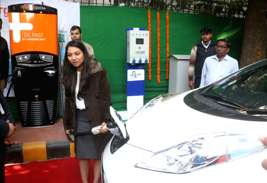 The newly inaugurated  EV (Electric Vehicle) charging station at NITI Ayog in New Delhi, on Feb 15, 2018.