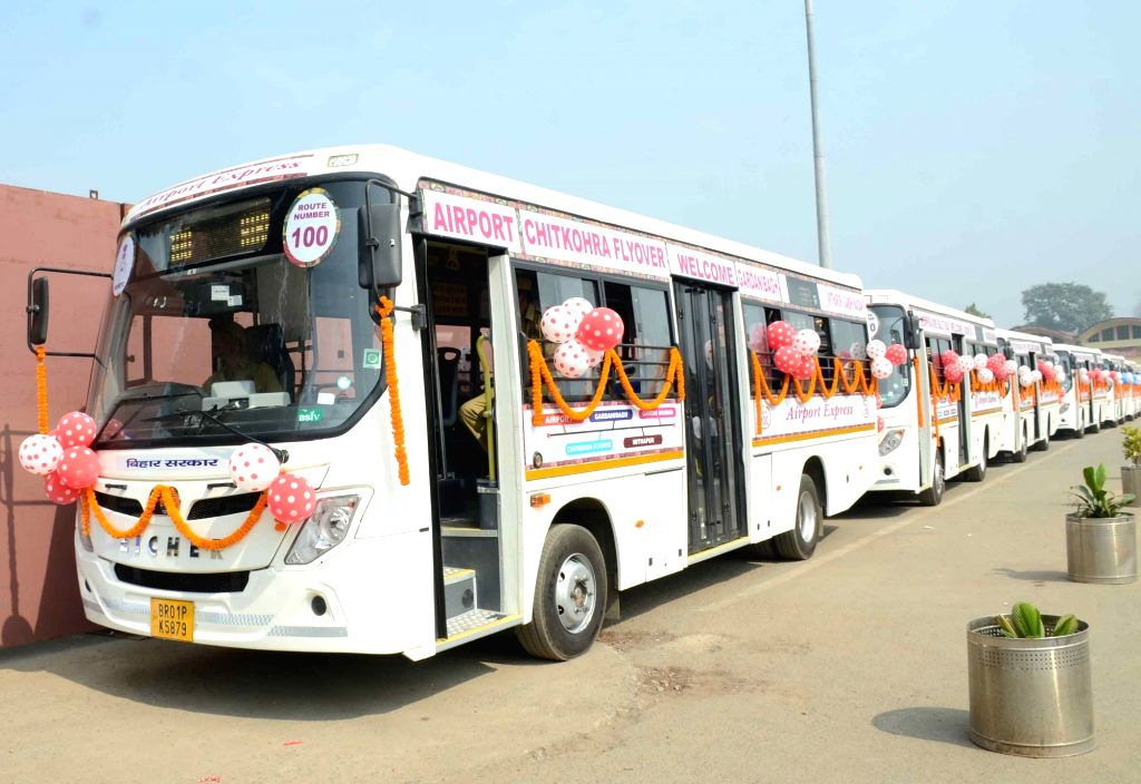 The newly inaugurated fleet of buses that were flagged off as part of the new bus service launched by the Bihar Government's Road Transport Corporation (BSRTC) from Jay Prakash Narayan ...