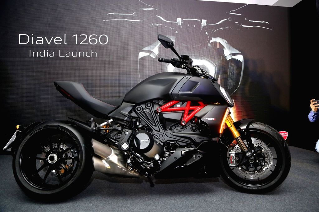 The newly launched 2019 Ducati Diavel 1260 on display, in New Delhi on Aug 9, 2019.