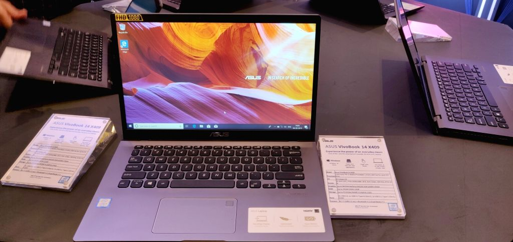The newly launched Asus VivoBook 14 X403 laptops on display, in New Delhi on Sep 4, 2019.