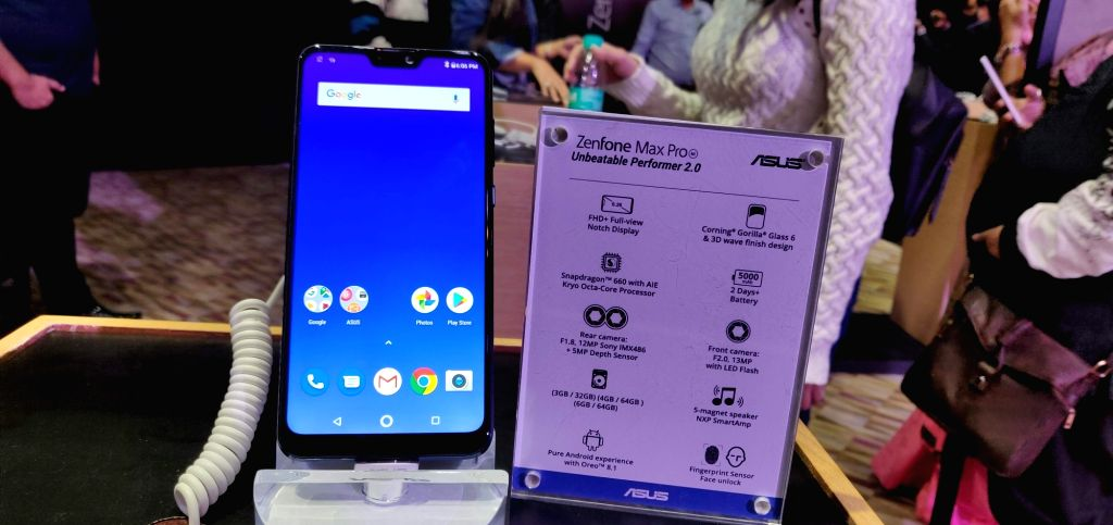 The newly launched Asus Zenfone Max Pro smartphone on display in New Delhi on Dec 11, 2018.