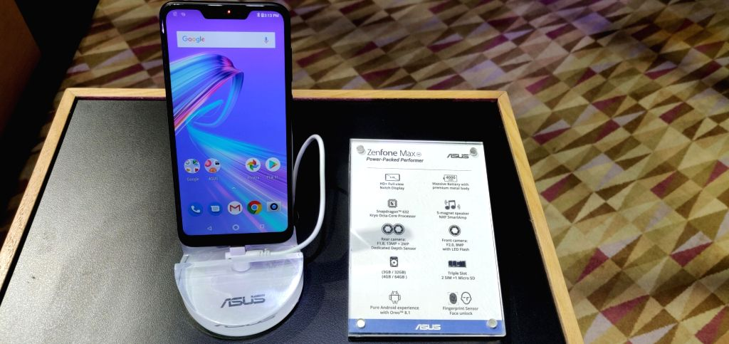 The newly launched Asus Zenfone Max smartphone on display in New Delhi on Dec 11, 2018.