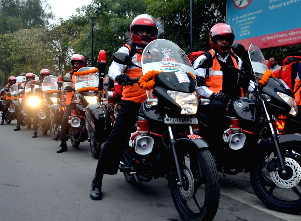 The newly launched bike ambulance services, flagged off by Delhi Chief Minister Arvind Kejriwal and Health Minister Satyendar Jain at Delhi Secretariat, on Feb 7, 2019. To ensure timely ... - Arvind Kejriwal and Satyendar Jain