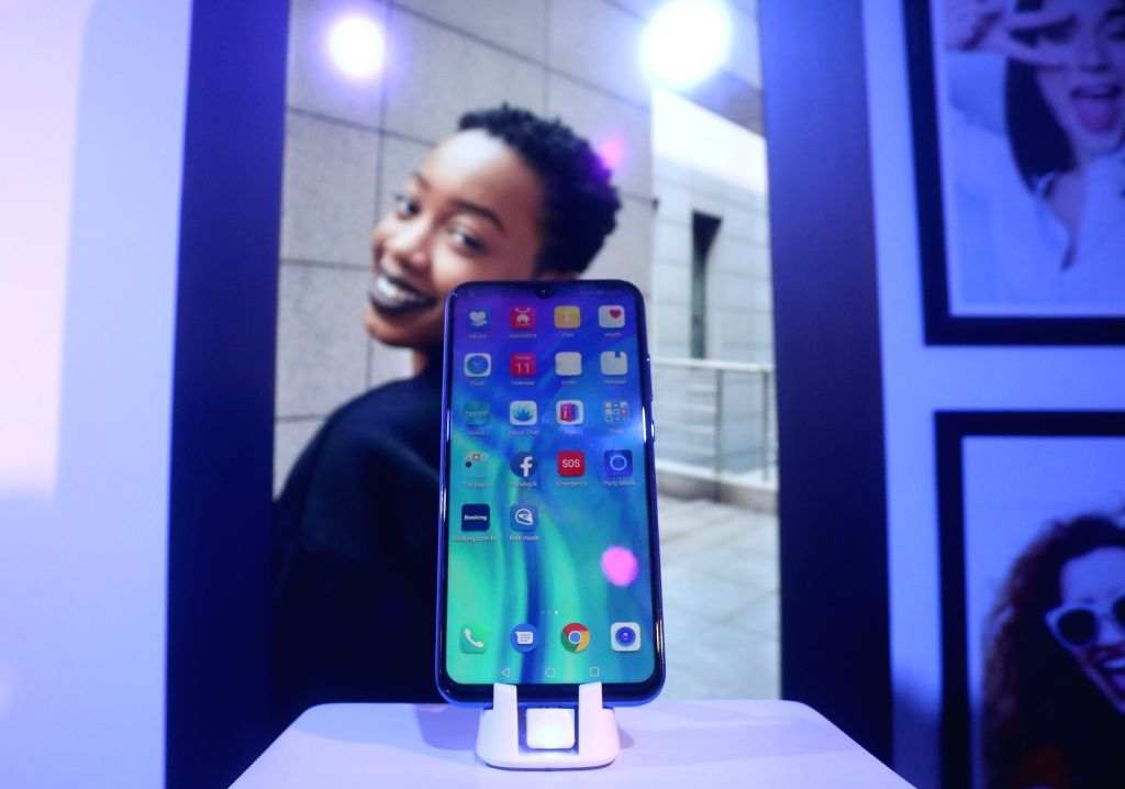 The newly launched Honor 20 smartphone on display, in New Delhi on June 11, 2019. Honor also launched 20 Pro and 20i smartphones today.